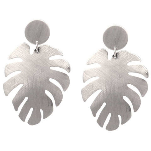 BITZ BRUSH TEXTURE METAL LEAF DROP EARRINGS