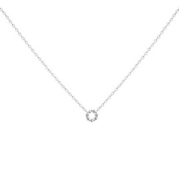 BITZ CUBIC ZIRCONIA PAVE MINI ROUND PENDANT SHORT NECKLACE TWO COLOR OPTIONS
