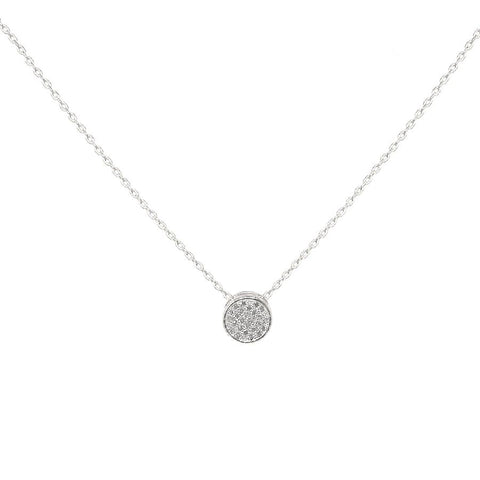 BITZ CUBIC ZIRCONIA PAVED MINI ROUND PENDANT SHORT NECKLACE