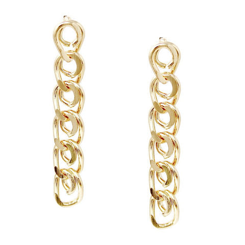 BITZ CUBAN LINK CHAIN DROP EARRINGS