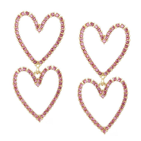 BITZ GLASS STONE PAVE DOUBLE HEART DROP STATEMENT EARRINGS