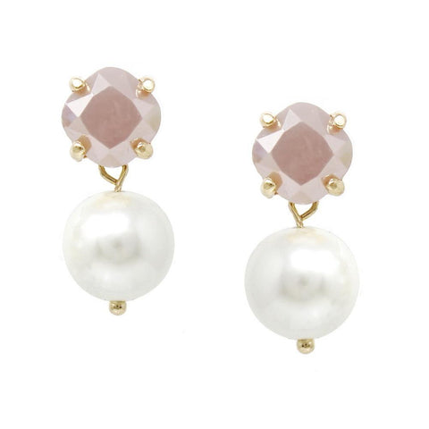 BITZ FACETED GLASS STONE WITH PEARL DROP EARRINGS 4 COLOR OPTIONS