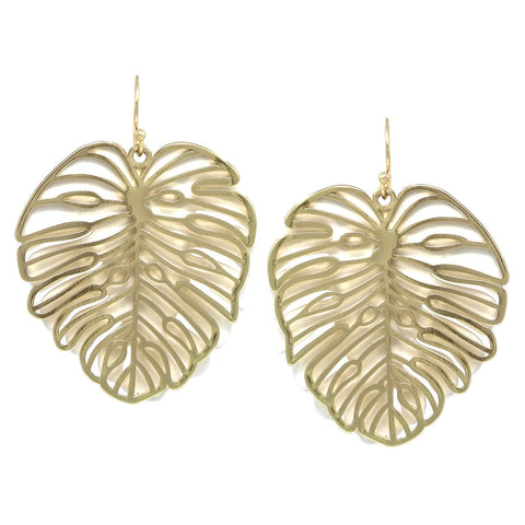 BITZ RUBBER COAT METAL AND CUTOUT PALM LEAF LAYERED DROP EARRINGS