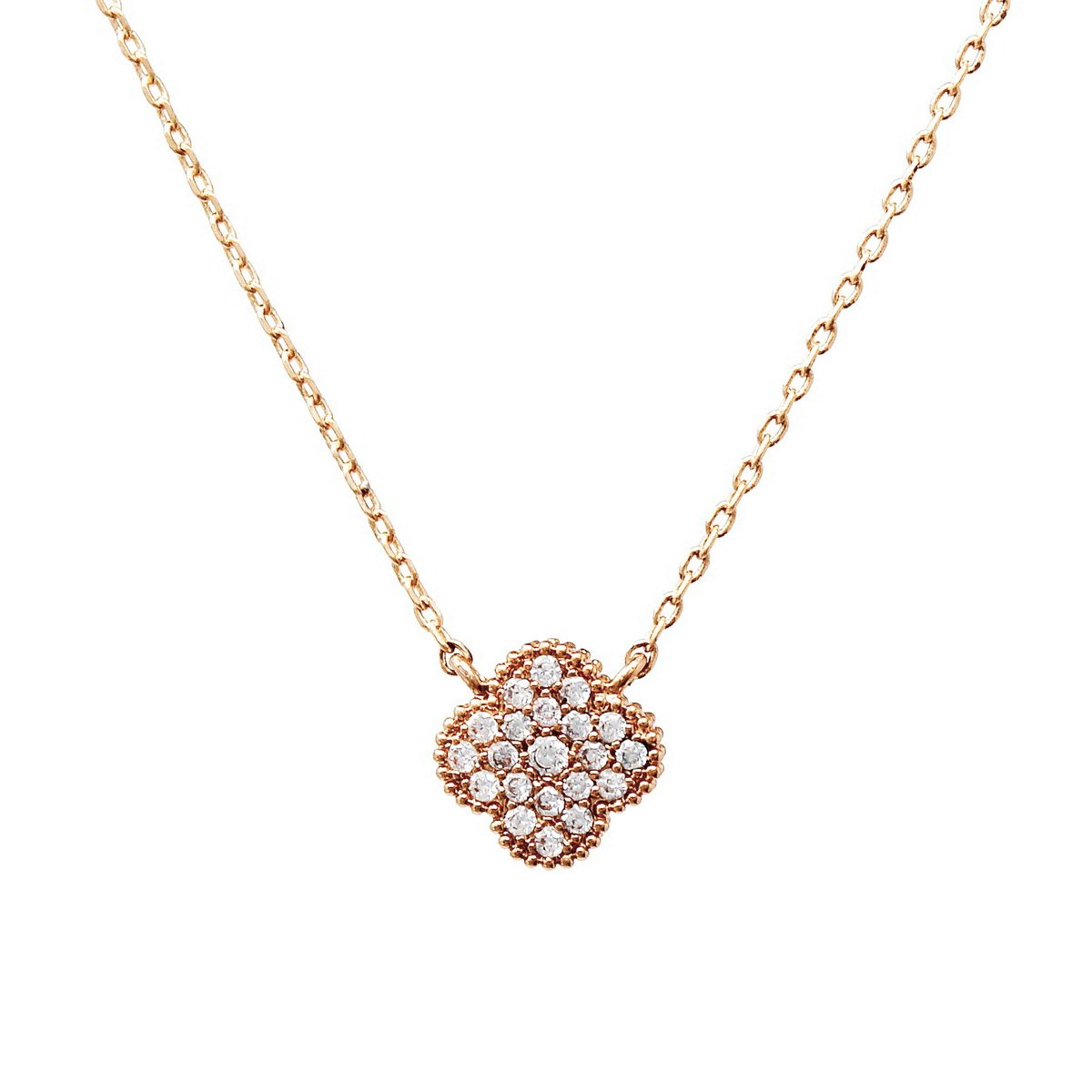 BITZ CZ PAVE CLOVER SHAPE PENDANT SHORT CHAIN NECKLACE