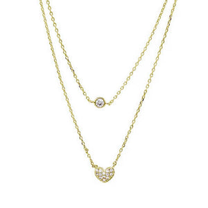 BITZ FLOATING CZ STONE AND MINI HEART CHARM DOUBLE LAYERED SHORT NECKLACE
