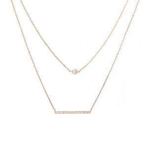 BITZ GOLD DIPPED CUBIC ZIRCONIA BAR PENDANT DOUBLE LAYERED SHORT NECKLACE