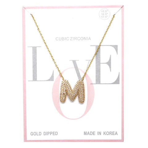 BITZ M CUBIC ZIRCONIA PAVE INITIAL SIMPLE CHAIN NECKLACE