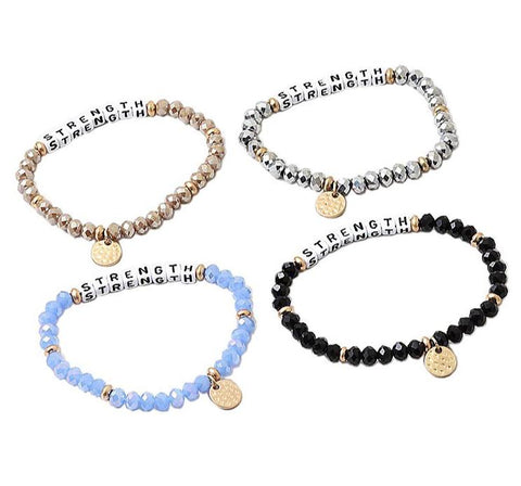BITZ MESSAGE BRACELET - STRENGTH - 3 COLOR OPTIONS