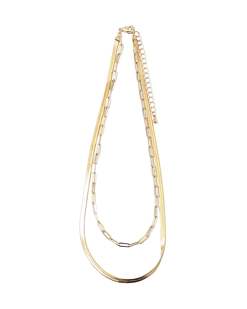 BITZ GOLD HERRINGBONE N PAPER CLIP CHAIN DOUBLE STRAND NECKLACE
