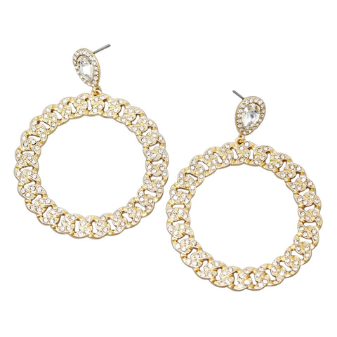 BITZ GLASS STONE PAVE LACE HOOP DROP EARRINGS