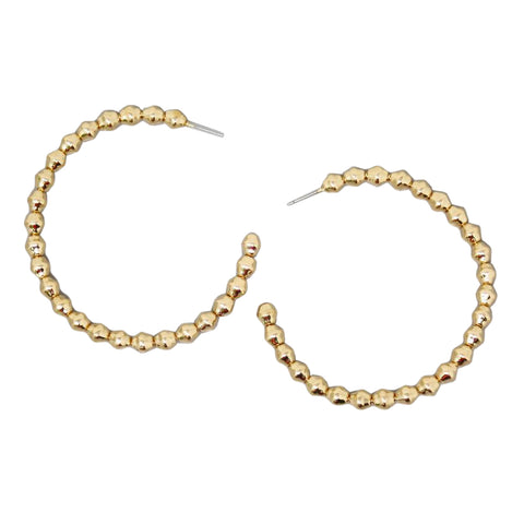 BITZ TEXTURED METAL BALL BEADED HOOP EARRINGS (60 MM)