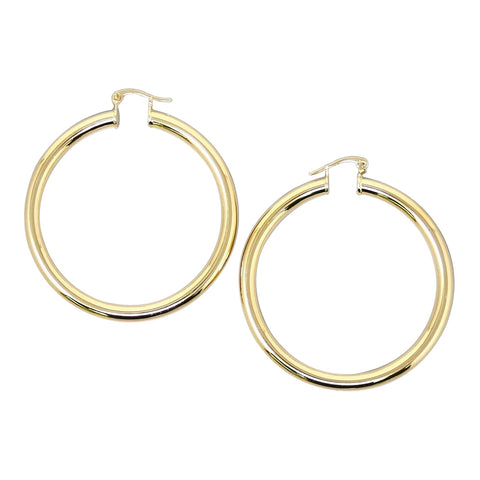 BITZ BASIC GOLD METAL HOOP EARRINGS TWO SIZES