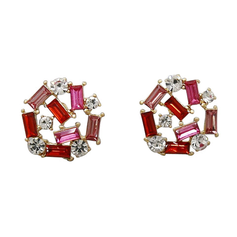 BITZ GLASS STONE CLUSTER STUD EARRINGS - TWO COLOR OPTIONS