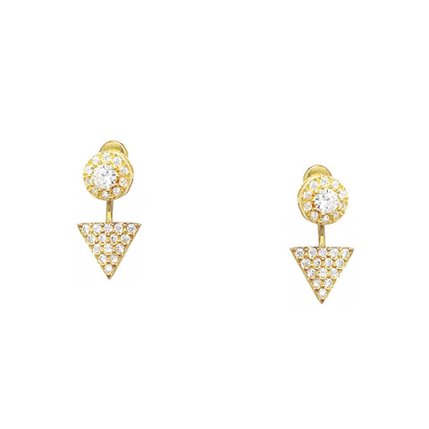 BITZ CUBIC ZIRCONIA PAVE STERLING SILVER GEOMETRIC DOUBLE SIDED EARRINGS