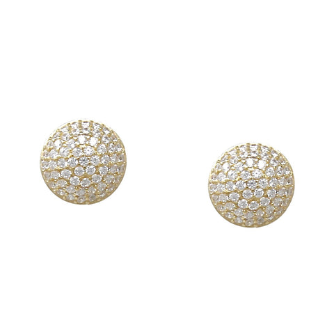 BITZ 925 STERLING SILVER CUBIC ZIRCONIA PAVED DISC STUD EARRINGS