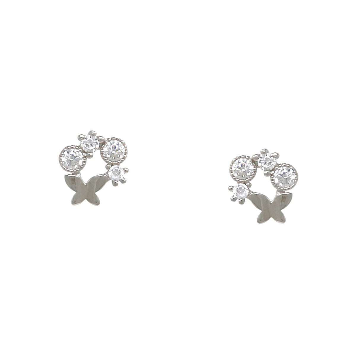 BITZ 925 STERLING SILVER BUTTERFLY CUBIC ZIRCONIA PAVE STUD EARRINGS