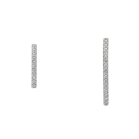 BITZ CUBIC ZIRCONIA PAVE STERLING SILVER BAR STUD EARRINGS