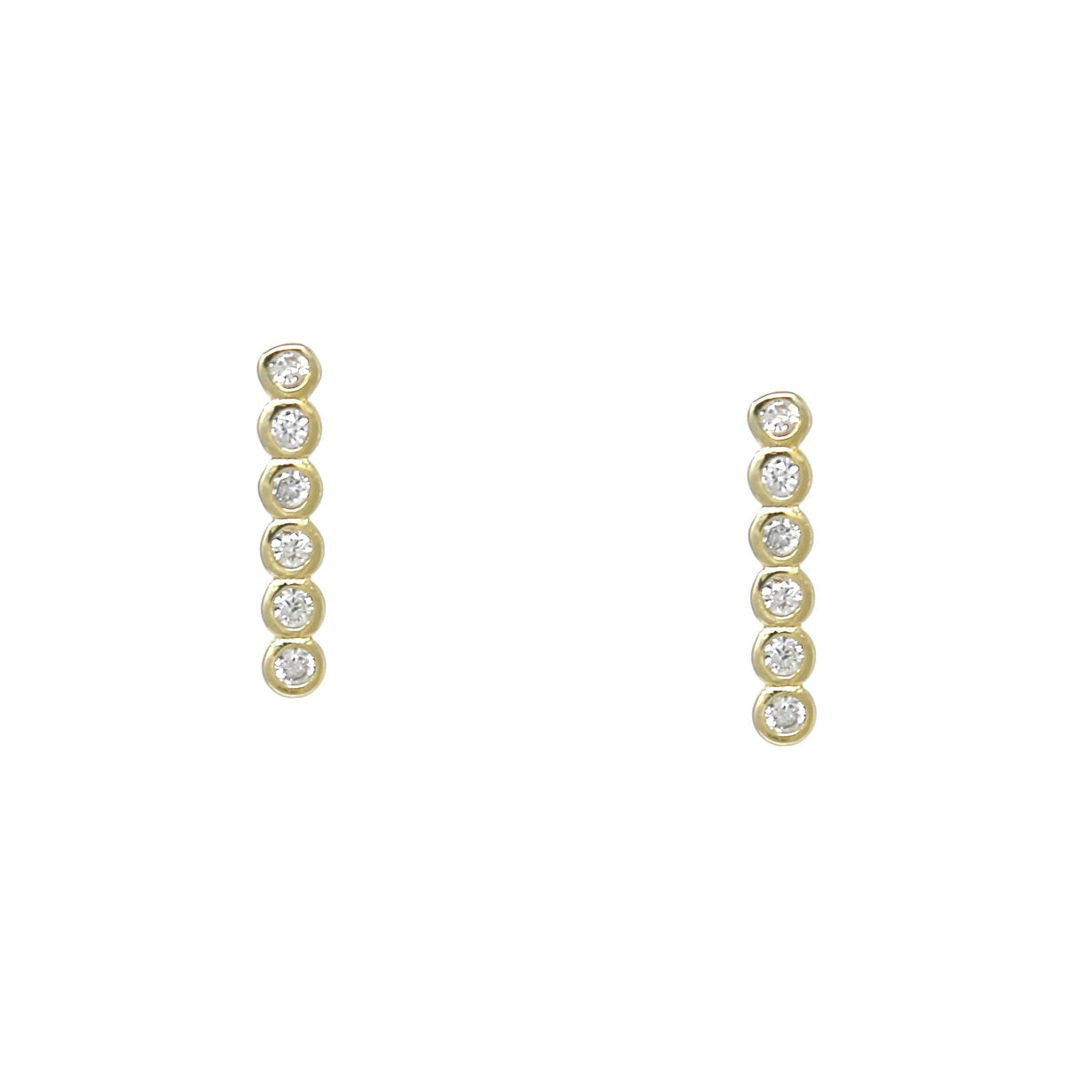 BITZ 925 STERLING SILVER CUBIC ZIRCONIA PAVE BAR STUD EARRINGS