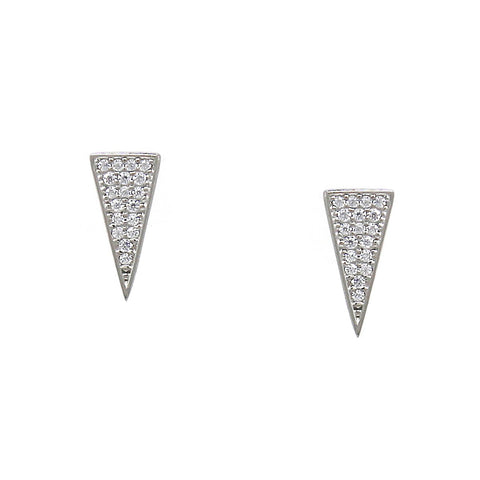 BITZ CUBIC ZIRCONIA PAVE 925 STERLING SILVER ARROWHEAD STUD EARRINGS