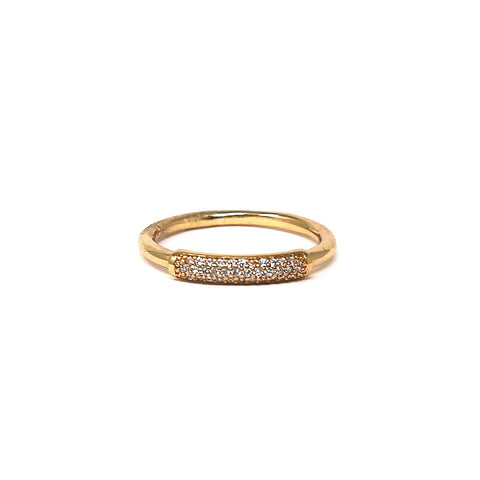 BITZ CUBIC ZIRCONIA PAVE FRONT BAND RING - 3 COLORS, SIZE 6,7,8