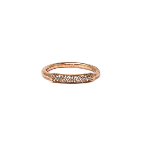 BITZ CUBIC ZIRCONIA PAVE FRONT BAND RING - SIZE 6,7,8
