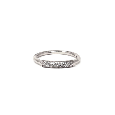 BITZ CUBIC ZIRCONIA PAVE FRONT BAND RING - SIZE 6