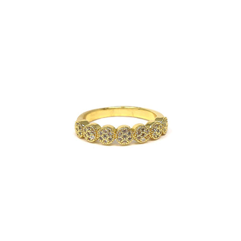 BITZ CZ PAVE SCALLOPED RING - 2 COLORS, SIZES 6,7,8