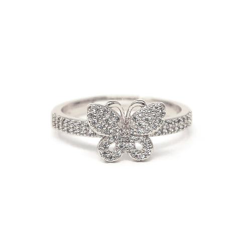 BITZ CUBIC ZIRCONIA ADJUSTABLE PAVE BUTTERFLY RING
