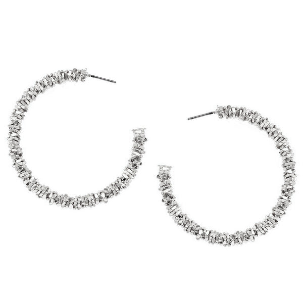 BITZ TEXTURED METAL HOOP EARRINGS TWO COLOR OPTIONS