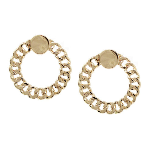 BITZ CUBAN LINK CHAIN HOOP DROP EARRINGS