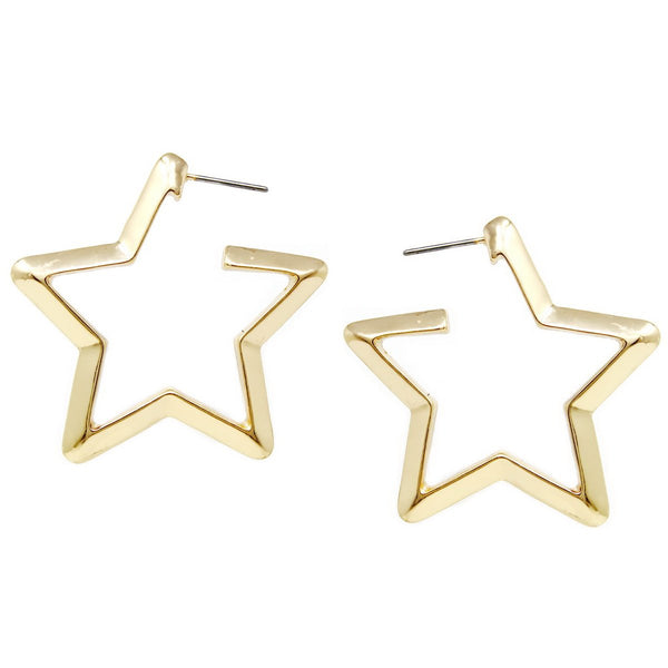 BITZ STAR SHAPE HOOP EARRINGS TWO COLOR OPTIONS