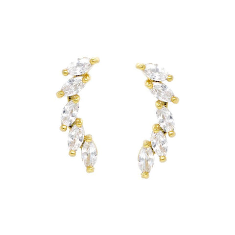 BITZ LUXE Marquise Stone Paved Ear Crawlers EARRING - TWO COLOR OPTIONS GOLD OR SILVER