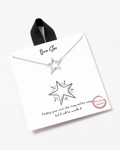BITZ STORY OWN STAR CZ NECKLACE TWO COLOR OPTIONS - perfect for grads!
