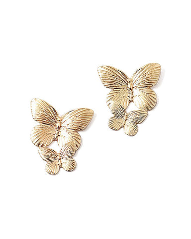 BITZ DOUBLE BUTTERFLY DROP EARRING - PRE ORDER
