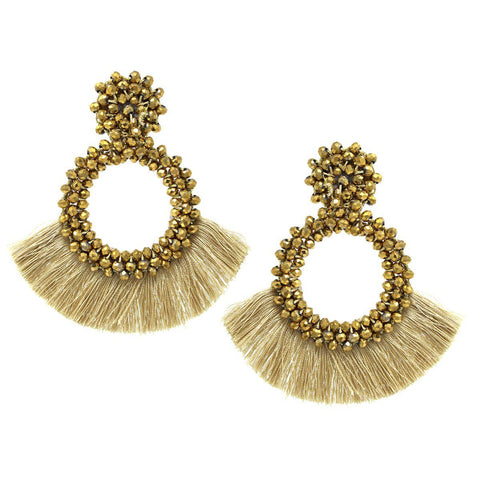 BITZ GLASS BEAD WRAPPED HOOP WITH TASSEL FRINGE DROP EARRINGS