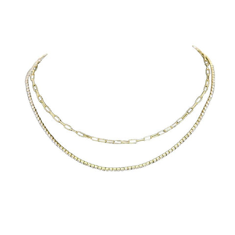 BITZ CZ PAVE LAYERED CHAIN SHORT NECKLACE