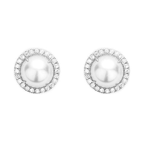 BITZ WHITE GOLD DIPPED CUBIC ZIRCONIA PAVE PEARL STUD EARRINGS