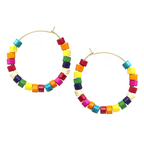 BITZ WOOD N BEADS Hoop Earrings