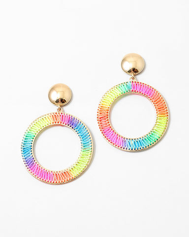 BITZ NEON THREADS STATEMENT ROUND EARRING