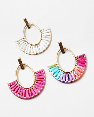 BITZ RAFFIA FAN TASSEL EARRING - WHITE OR HOT PINK TWO COLOR OPTIONS