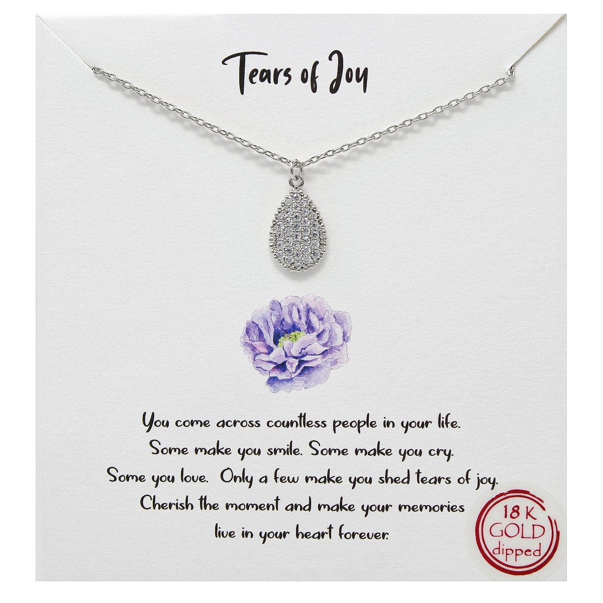BITZ STORY: TEARS OF JOY CZ PAVE PENDANT SIMPLE CHAIN NECKLACE