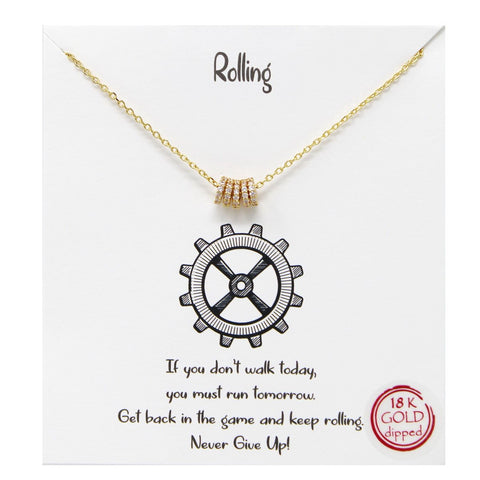 BITZ STORY: ROLLING PENDANT SIMPLE CHAIN NECKLACE