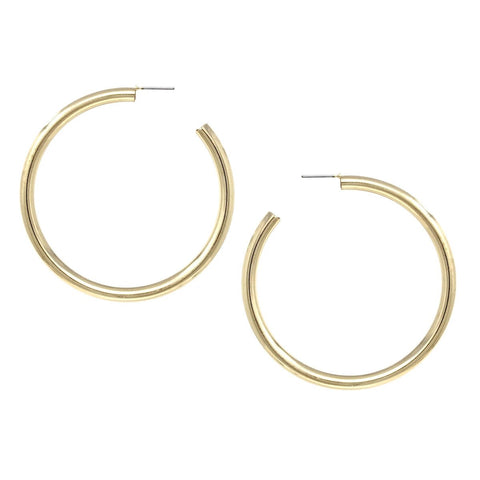 BITZ DAINTY SHINY METAL HOOP EARRINGS (60 MM) - GOLD