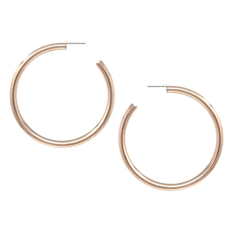 BITZ DAINTY SHINY METAL HOOP EARRINGS (60 MM) - ROSE GOLD