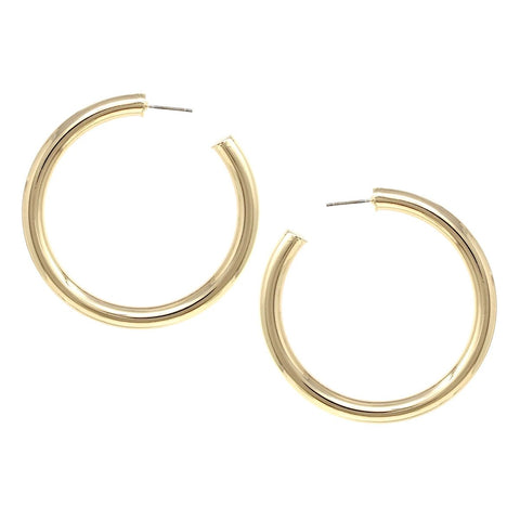 BITZ SHINY WIDE PIPE METAL HOOP EARRINGS (60 MM)