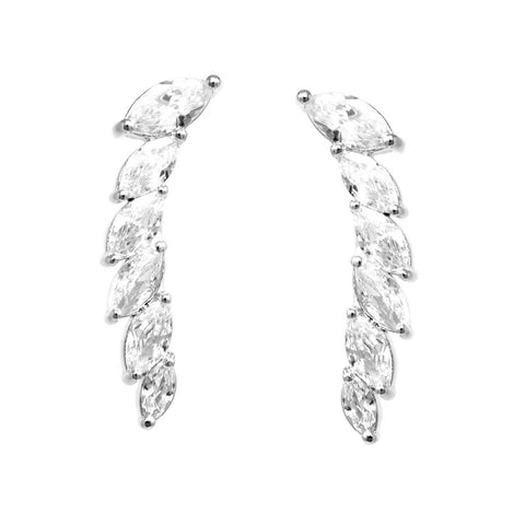 BITZ MARQUISE CUBIC ZIRCONIA PAVE EAR CRAWLERS SILVER
