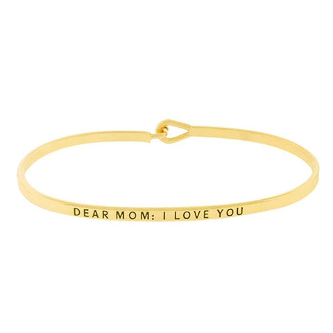 BITZ  MOM I LOVE YOU MESSAGE BRACELET BANGLE TWO COLOR OPTIONS