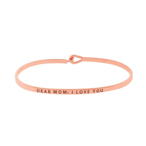 BITZ  MOM I LOVE YOU MESSAGE BRACELET BANGLE ROSE GOLD