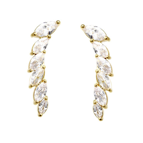 BITZ MARQUISE WING CUBIC ZIRCONIA PAVE EARRING - EAR CRAWLERS GOLD