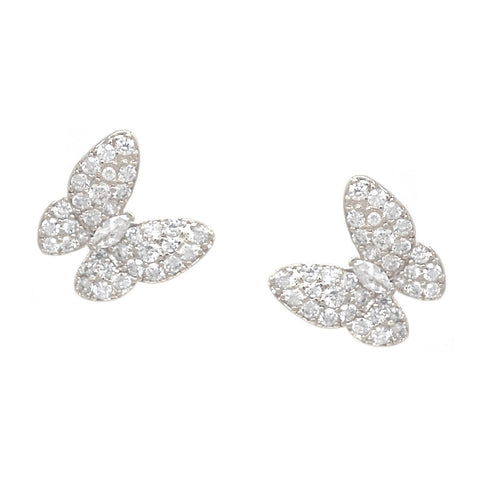 BITZ CZ PAVE BUTTERFLY STUD EARRINGS